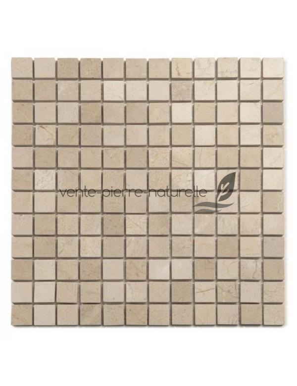 Mosaique marbre Crema Marfil adoucie