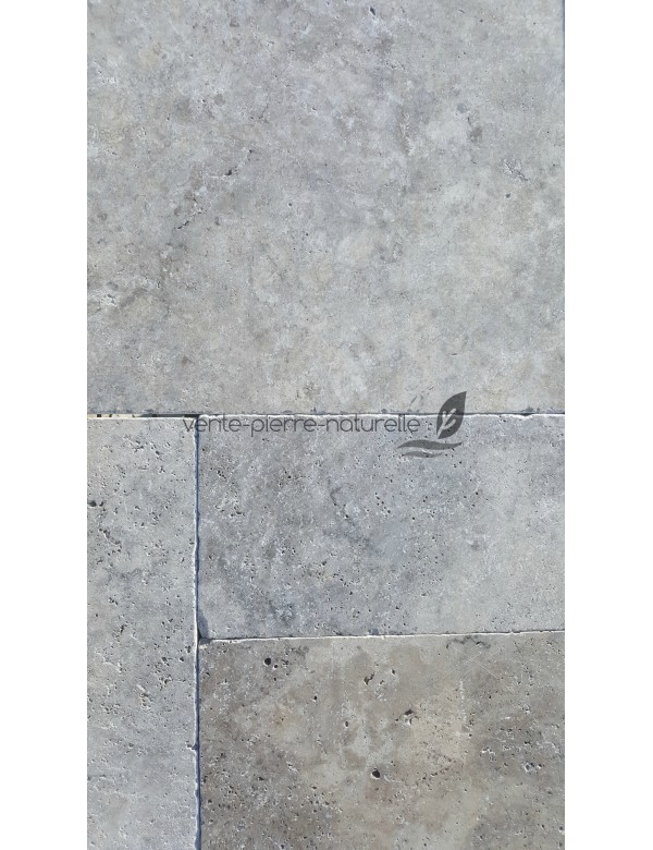 Dallage travertin gris silver vieilli 1er choix