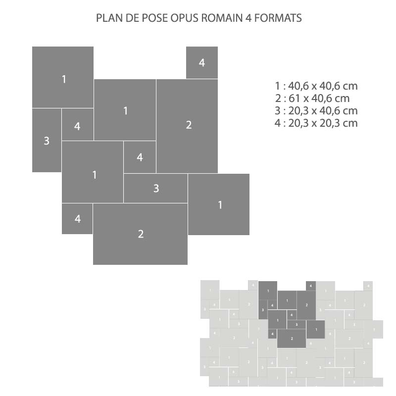 plan de pose carrelage opus romain